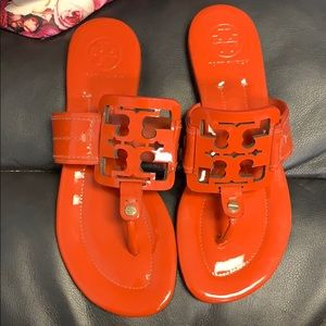 Tory Burch Big Logo Thong Sandals Orange Sz 5M